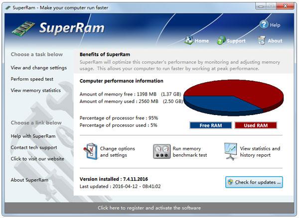 SuperRam(内存工具) V7.4.11.2016 英文绿色版