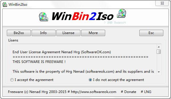 bin转ISO(WinBin2Iso) V2.91 英文绿色版