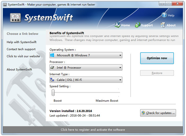 SystemSwift Portable(电脑提速工具) V2.6.20.2016 英文绿色版