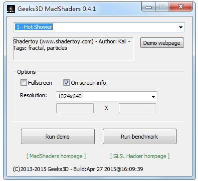 MadShaders(显卡性能测试工具) V0.4.1 绿色版