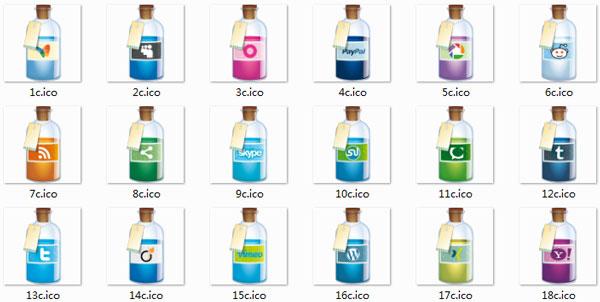 酒瓶创意桌面图标 V1.0 绿色版