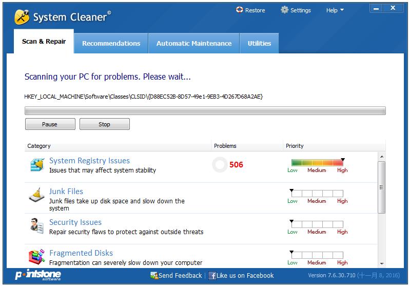 System Cleaner(垃圾文件清除) V7.6.30.710 英文版